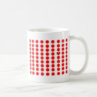 taza--círculos rojos y un corazón taza básica blanca