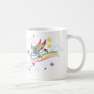 Taza coa alas arco iris del unicornio