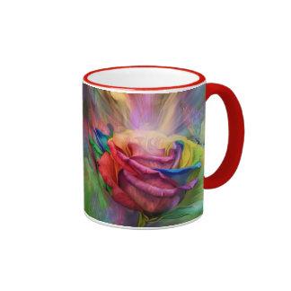 Taza color de rosa curativa del arte