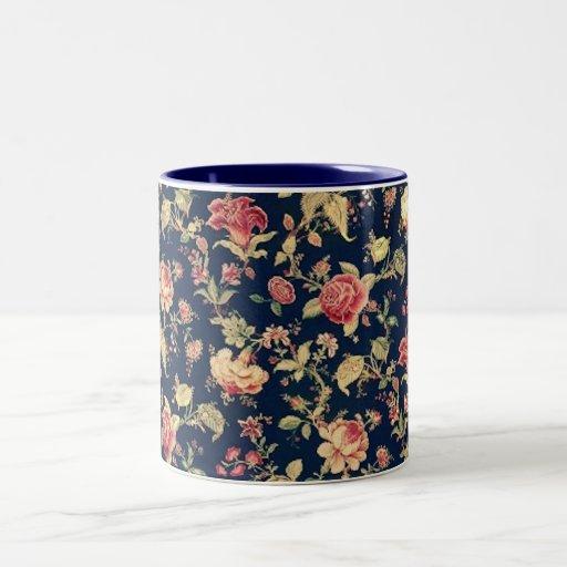 Taza color de rosa floral del vintage elegante
