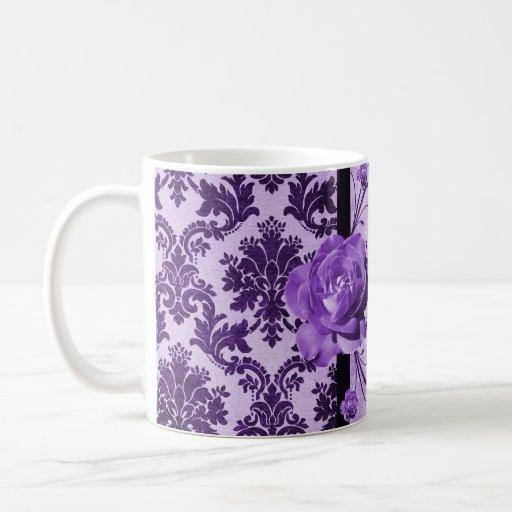 Taza color de rosa púrpura del damasco elegante de