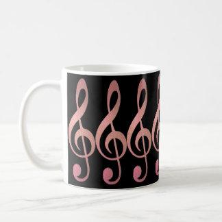 Taza color de rosa y negra hermosa del Clef agudo