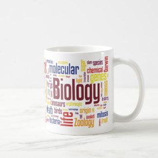 Taza colorida de Wordle de la biología