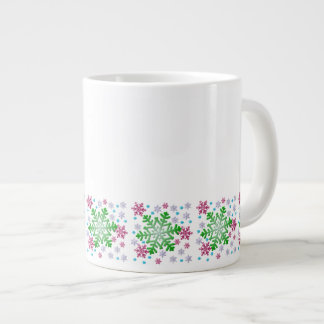 Taza colorida del jumbo del copo de nieve del navi taza grande