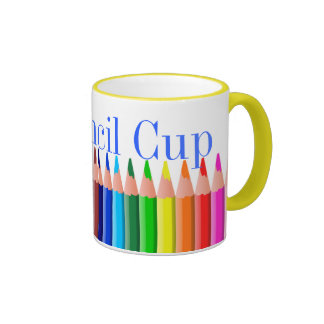 Taza colorida del lápiz