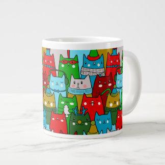 Taza colorida divertida del jumbo de los gatos del