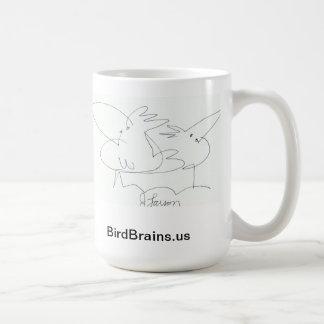 Taza cómica de la serie de los cerebros del pájaro