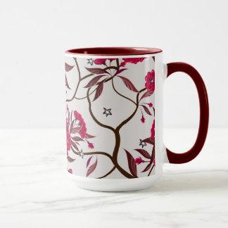 Taza con el fondo floral