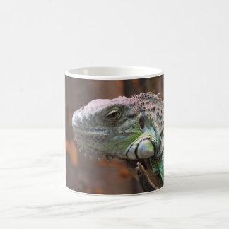 Taza con el lagarto colorido de la iguana