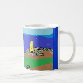 Taza con el marinero y el paisaje marino