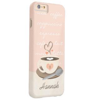 Taza con monograma de Coffe del corazón Funda Barely There iPhone 6 Plus