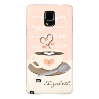 Taza con monograma de Coffe del corazón Funda Galaxy Note 4