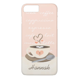 Taza con monograma de Coffe del corazón Funda iPhone 7 Plus