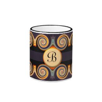 Taza con monograma intrépida del arte del remolino