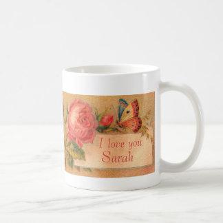 """Taza con un Victorian del vintage subió, """"te amo """""""