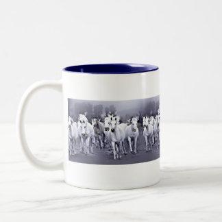 taza con una manada de caballos árabes