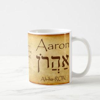 Taza conocida hebrea de AARON