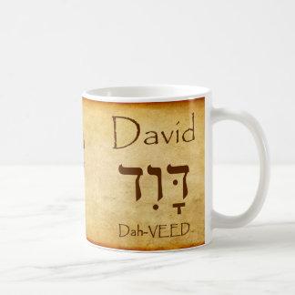 Taza conocida hebrea de DAVID