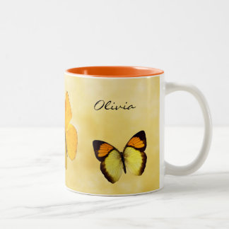 Taza conocida personalizada mariposas anaranjadas
