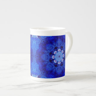 Taza coralina de la porcelana de hueso del azul re taza de porcelana