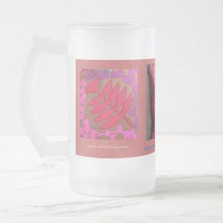 Taza coralina del vidrio esmerilado de la turquesa