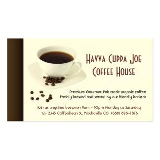 Taza corazón de los granos del café y de café plantillas de tarjetas de visita