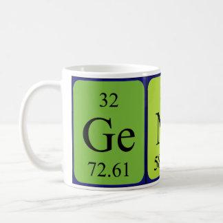 Taza cordial de la palabra de la tabla periódica