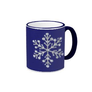 Taza cristalina del copo de nieve