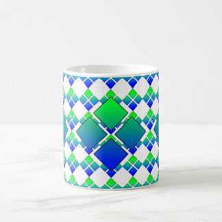 Taza cuadrada 3D del diamante 4 del verde azul