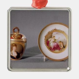 Taza cubierta y platillo de Meissen Ornaments Para Arbol De Navidad