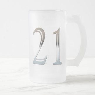 Taza de 21 vidrios esmerilados para el 21ro regalo
