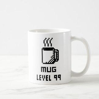 Taza de 8 bits del arte del pixel del nivel 99 de