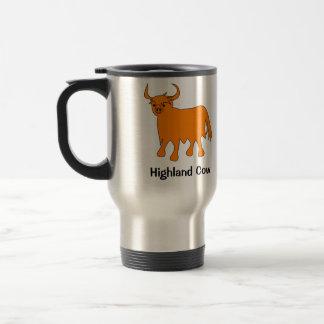 Taza de acero del viaje de la vaca escocesa de la