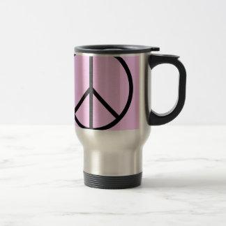 Taza de acero del viaje del signo de la paz (rosa)