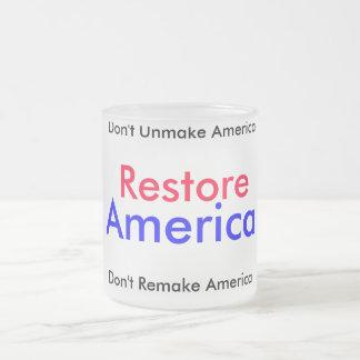 """""""Taza de América del restablecimiento"""" Taza De Café Esmerilada"""