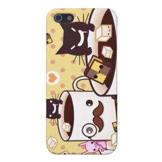 Taza de bigote linda con los animales y las gallet iPhone 5 funda