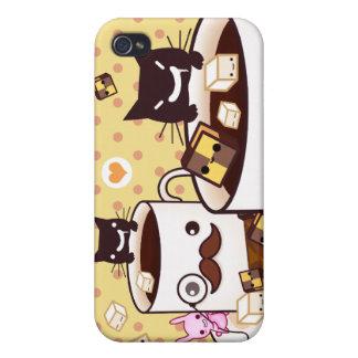 Taza de bigote linda con los animales y las gallet iPhone 4 funda