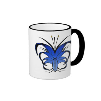 Taza de café abstracta azul de la flor de mariposa