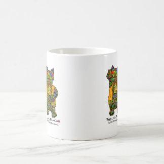 Taza de café afortunada del gato negro del hippy