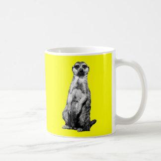 Taza de café amarilla de Meerkat