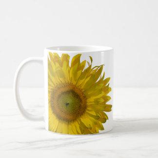 Taza de café amarilla del boda del girasol