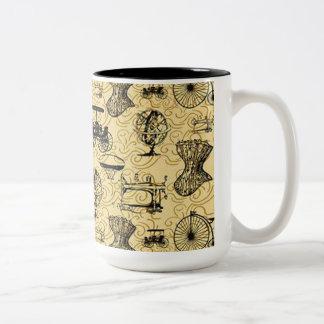 Taza de café amarilla del modelo de Steampunk