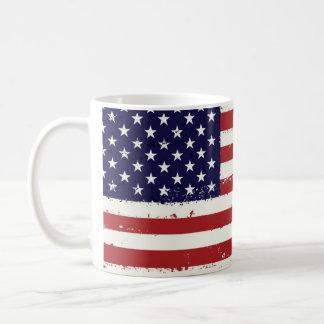 Taza de café americana de la bandera americana