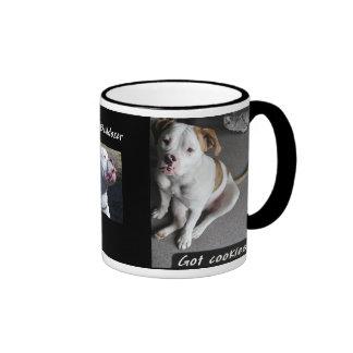 Taza de café americana del perrito del dogo