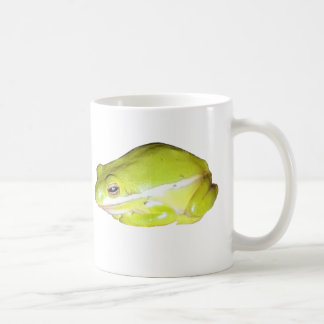 Taza de café americana verde de la rana arbórea