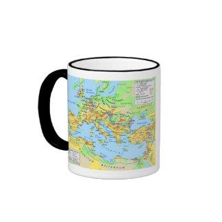 Taza de café antigua del mapa del imperio romano