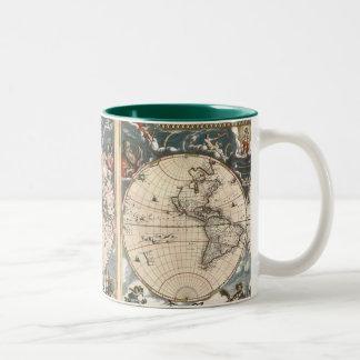 Taza de café ANTIGUA del MAPA DEL MUNDO