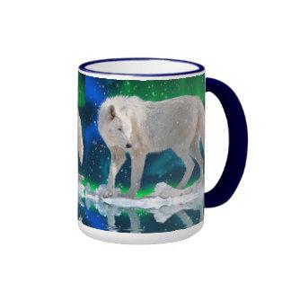 Taza de café ártica del arte del lobo, de la