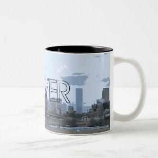 Taza de café artística del horizonte de Denver Col