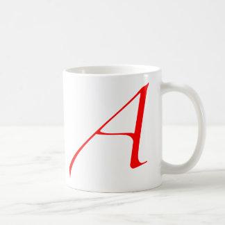 Taza de café atea de la letra escarlata